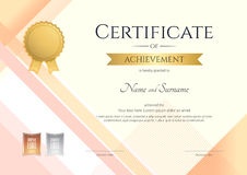 Modern certificate of achievement template with modern colorful royalty free illustration