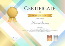 Modern certificate of achievement template with modern colorful stock illustration