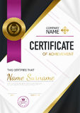 Modern Certificate Of Achievement Template. With purple ribbon stamp gold inscriptions and award vector illustration Royalty Free Stock Images