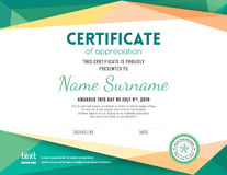 Modern certificate background design template. Modern certificate with green polygonal background design template vector illustration