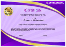 modern certificate diploma award template purple gold stock photo