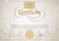 Modern Certificate. Template diplomas, currency. Stock Photo