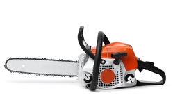 Modern chain saw isolated Royalty Free Stock Photo