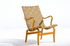Modern Chair. Modern woven fabric and wood chair Royalty Free Stock Photo