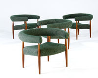 Modern Chair. Green wool and wood modern chairs Stock Photography
