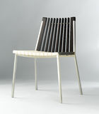 Modern chair design combination of woods and steel Stock Photography