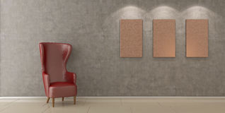 Modern chair in empty room Stock Images
