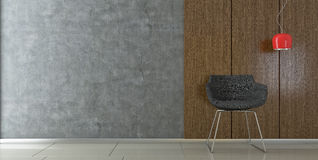 Modern chair in empty room Royalty Free Stock Photo