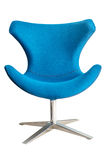 Modern chair in metal and blue fabric Stock Image