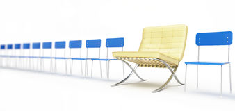 Modern chair and a number of simple chairs. On a white background Royalty Free Stock Photography