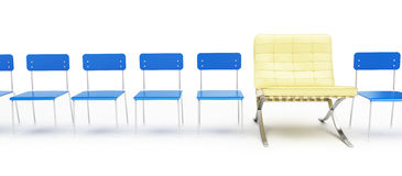 Modern chair and a number of simple chairs. On a white background Stock Photography