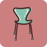 A modern chair on a pink background Stock Photos