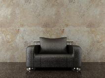 Modern chair to face a blank wall Royalty Free Stock Images