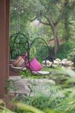 Modern chairs near the streams. Royalty Free Stock Photography