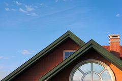 Modern chalet roof with attic Stock Photography