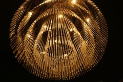 Modern chandelier on ceiling. stock photography
