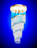 Modern chandelier with crystal pendants. Illustration of a modern chandelier with crystal pendants Stock Images