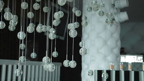 Modern chandelier. Lighting decor. Chandelier close up. Steadicam shot stock video