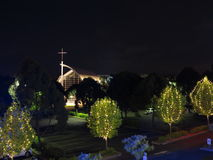 Modern chapel at night Royalty Free Stock Photos