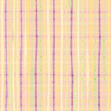 Modern checkwork seamless vector pattern. Checkered pastel yellow, purple and green design with hand drawn stripes stock illustration
