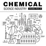 Modern chemical science industry. Thin line icons set biology technology. laboratory set collection with global industry elements. Premium quality  symbol Royalty Free Stock Images
