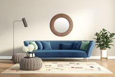 Modern chic classic interior with blue sofa and stools royalty free stock photos