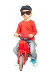 Modern child boy with bicycle Stock Images