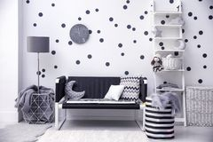 Modern child`s room interior. With toys Royalty Free Stock Photo