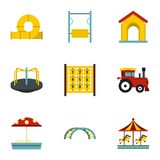 Modern children playground icons set, flat style Royalty Free Stock Images
