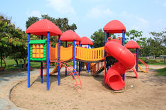 Modern children playground in park Royalty Free Stock Photo