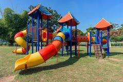 Modern children playground. In park stock photo