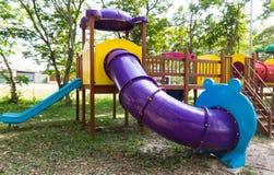 Modern children playground in park Royalty Free Stock Photo
