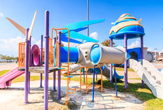 Modern children playground slide Stock Images