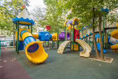 Modern children's playground in the courtyard  apartment house in Moscow Royalty Free Stock Images