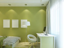 Modern children's room green color with mockup posters on the wa Royalty Free Stock Photography