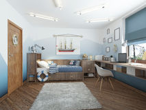 Modern children's room for a teenager in a nautical style with f Royalty Free Stock Image