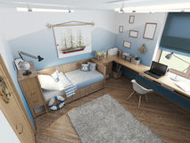 Modern children's room for a teenager in a nautical style with f Stock Photos