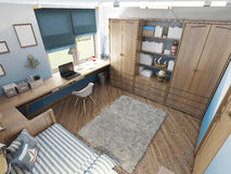 Modern children's room for a teenager in a nautical style with f Stock Image