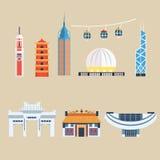 Modern Chinese Buildings, Hong Kong travel elements. Vector Illustration Set vector illustration