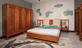 Modern Chinese mahogany furniture. Furniture made of mahogany has been loved by the Chinese since ancient times. With the development of time, Chinese people royalty free stock photo