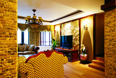 Modern Chinese room. A view of a luxurious living-room in a modern Chinese house Stock Photos