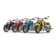 Modern chopper bikes in red, blue, yellow and black - beauty shot. 3D Illustration Royalty Free Stock Photo
