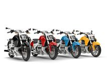 Modern chopper bikes in red, blue, yellow and black. 3D Illustration Stock Images