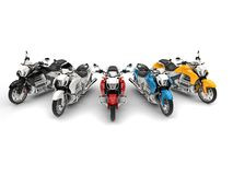 Modern chopper bikes in red, blue, yellow, black and white - top down shot. 3D Illustration Stock Image