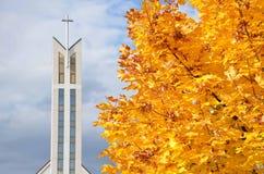 Modern christian church. In autumn Royalty Free Stock Photos
