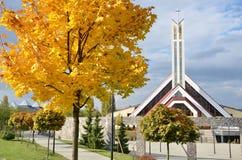 Modern christian church. In autumn Royalty Free Stock Photo