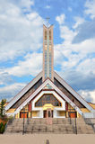 Modern christian church with heaven in background Royalty Free Stock Image