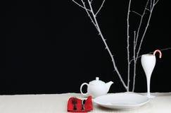 Modern Christmas. A modern Christmas table setting for one Stock Photos