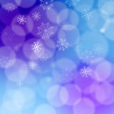 Modern christmas backdrop with various white transparent snowflakes on purple, pink and blue background bokeh effect. Soft and bl royalty free illustration