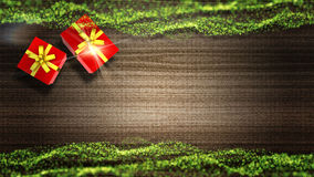 Modern Christmas background with green decorations. And gift boxes on wooden board Royalty Free Stock Photo